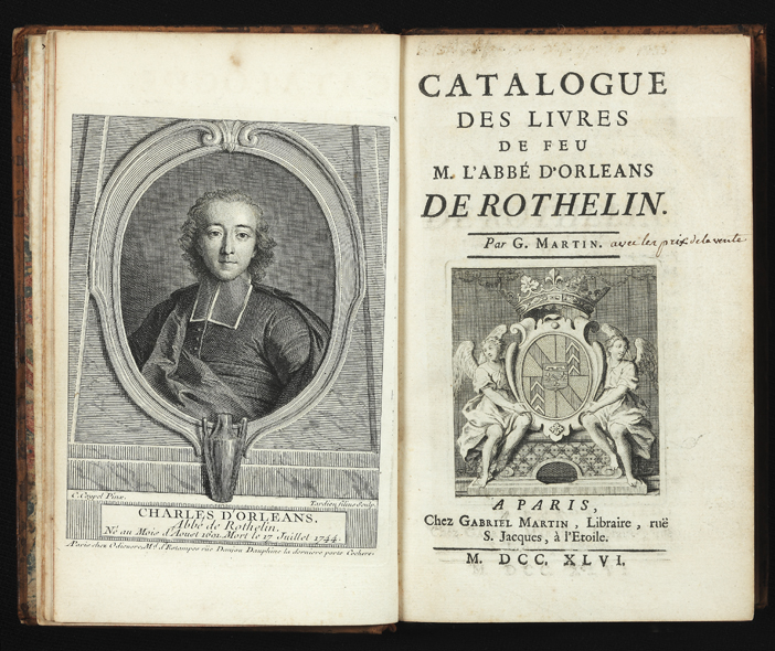 Catalogue des Livres de feu M. l'Abbé d'Orleans de Rothelin. AUCTION CATALOGUE: ROTHELIN