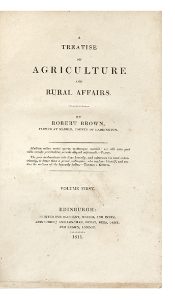 A Treatise on Agriculture and Rural Affairs. Robert BROWN.
