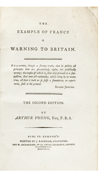 The Example of France. A Warning to Britain. Arthur YOUNG.
