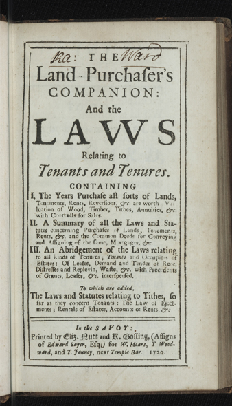The Land Purchaser's Companion: and the Laws relating to Tenants and Tenures...To which are added, the Laws and Statutes relating to Tithes. Giles JACOB.