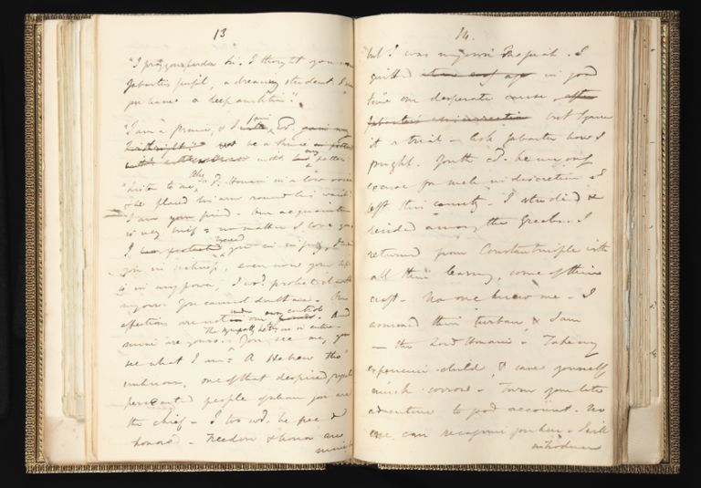 The complete autograph working manuscript of Disraeli's novel Alroy, 397 leaves, paper of several sizes (the largest is 373 x 225 mm., the smallest 323 x 201 mm.), each leaf mounted on a stub at gutter, bound in two folio vols. (Vol. I: leaves 1-195; Vol. II: leaves 196-397), handsome later 19th-cent. blindstamped panelled morocco, dentelles gilt, spines gilt, t.e.g., others uncut. Benjamin DISRAELI, Earl of Beaconsfield.