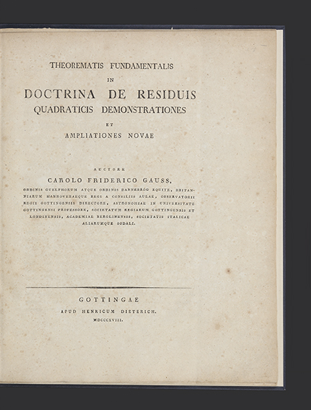 Theorematis Fundamentalis in Doctrina de Residuis Quadraticis Demonstrationes et Ampliationes Novae. Carl Friedrich GAUSS.