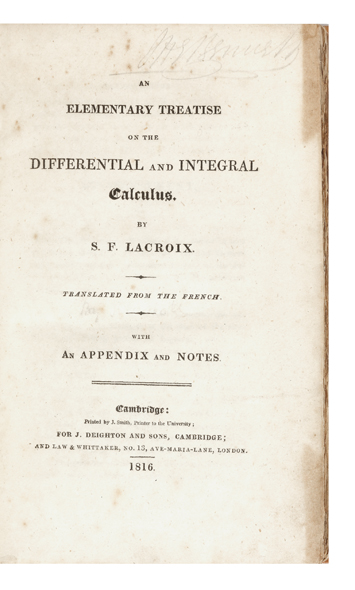 An Elementary Treatise on the Differential and Integral Calculus. Silvestre François LACROIX