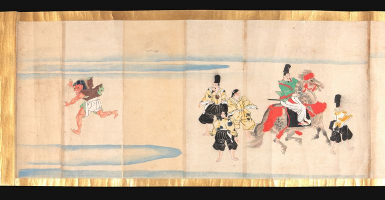 "Illustrated manuscript scroll ""Haseo Soshi Emaki"" [trans.: ""Narrative Picture Scroll of Haseo Soshi""], complete, emakimono, manuscript on paper, five paintings in color, five manuscript texts, top & bottom edges of scroll in gold, 38 x 1127 cm., brocade endpapers, in a fitted wooden box. Tale of HASEO, PICTURE SCROLL."