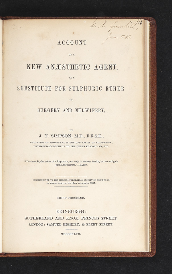 Account of a New Anaesthetic Agent as a Substitute for Sulphuric Ether in Surgery and Midwifery. James Young SIMPSON.