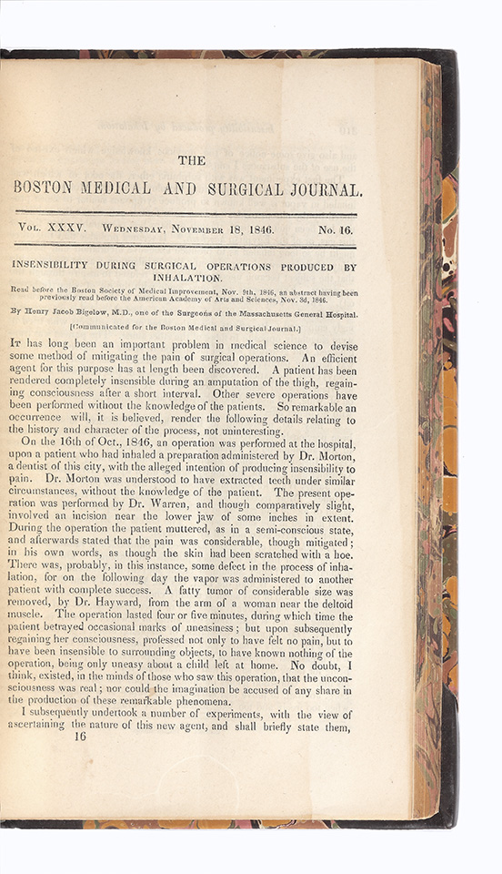 """Insensibility during Surgical Operations produced by Inhalation"" Henry J. BIGELOW."