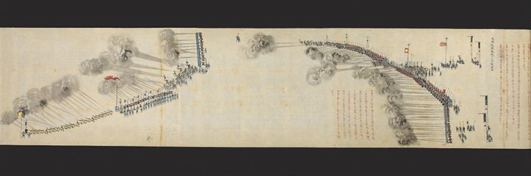 "Beautifully illustrated & vividly colored scroll entitled ""Kano Bicchumori kaei gonen kacchu chakuyo choren ezu"" [""Military Exercises at the Estate of Kano, Lord of Bicchu, in the Fifth Year of Kaei""]. One picture scroll, 263 x 10,170 mm., with numerous illus. and black & red manuscript explanatory text. Hisaakira KANO, 2nd Fiefdom Lord of Ichinomiya-han."