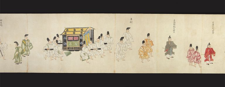 Finely illustrated scroll on paper in brush and color, 270 x 8670 mm., silk brocade endpapers. BIWA INSTRUCTION FOR A. MEMBER OF THE ROYAL FAMILY.