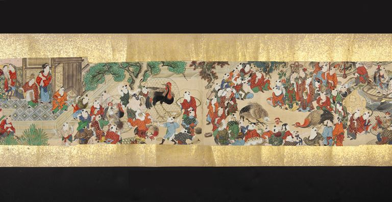Three picture scrolls (emakimono) on fine paper, with a series of exquisite paintings in vivid...