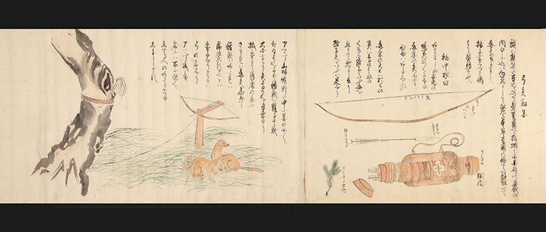 "Two finely illustrated scrolls with 35 scenes in ink and color entitled ""Ezo shima kikan"" or ""Ezo to kikan"" (""Strange sights in the island of Ezo""), by Okumaru Hata. Two scrolls, 300 x 9110 mm. & 300 x 9540 mm. [Japan: ca. 1818-43]. AINU PEOPLE OF HOKKAIDO."