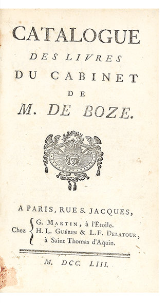 Catalogue des Livres du Cabinet de M. De Boze. AUCTION CATALOGUE: BOZE.