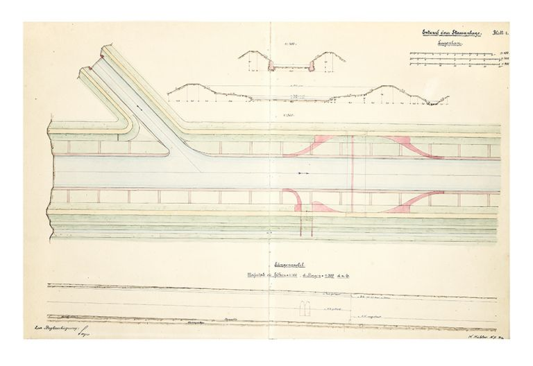 Two albums of related manuscript drawings of engineering projects in Germany for river & waterway...