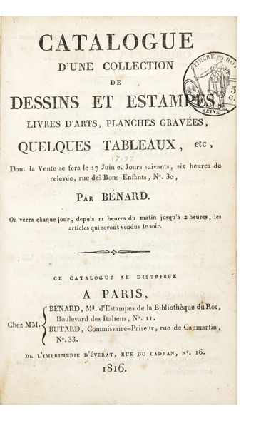 Catalogue d'une Collection de Dessins et Estampes, Livres d'arts, Planches gravées, quelques...