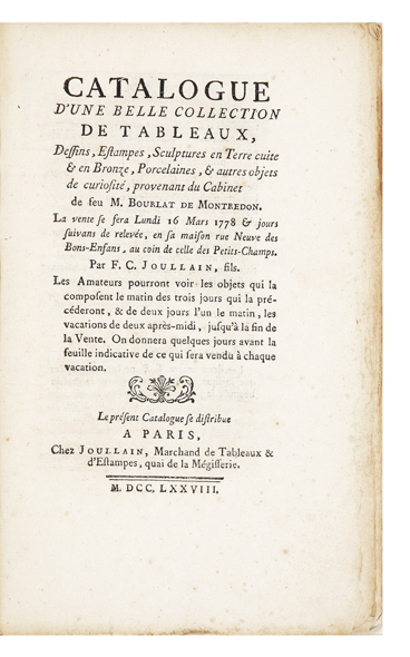 Catalogue d'une belle Collection de Tableaux, Dessins, Estampes, Sculptures en Terre cuite & en...