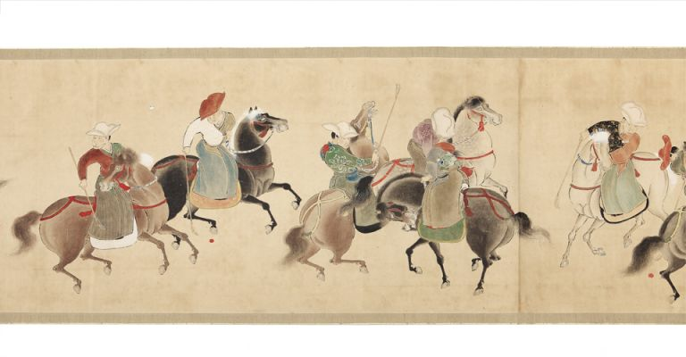 "Finely illustrated scroll on three long joined sheets of paper measuring 462 x 4610 mm., title on the antique wooden box reading: ""Dakyu zu emaki"" [trans.: ""Illustrated Scroll of Polo""], signed at bottom ""Ikyo Kano."". JAPANESE COURT POLO SCROLL."