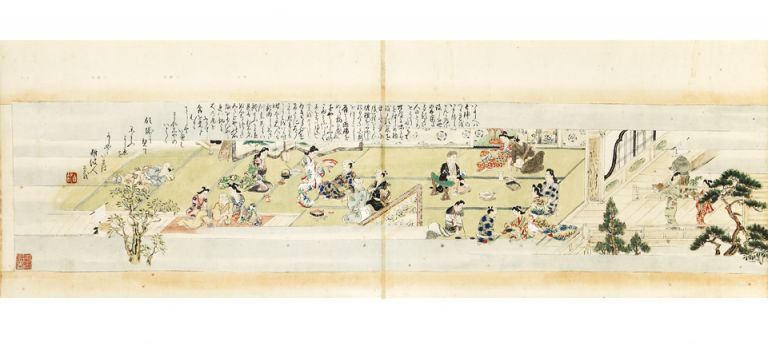 "Illustrated scroll on paper, entitled ""Shiki no susami"" [trans.: ""Four Seasons of Pleasure Seeking""]. JOURNEY TO THE PLEASURE QUARTER."