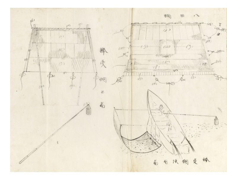 "Manuscript on paper entitled on title slip on upper cover ""Amiryo hen"" [trans.: ""Fishing with Nets""]. Heitaro NIWA."