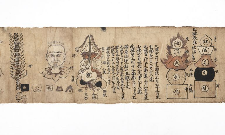 "Illustrated scroll on paper entitled ""Gozo roppu"" and ""Keiketsu"" [trans.: ""Illustrated scroll of the Five Organs and Six Viscera"" and ""Pressure Points illustrated""]. Scroll on thin paper (275 x 3780 mm.), with numerous pen, ink, and color drawings. At end, we find in Japanese ""copied by Saburouemon [and] Yojuro Igarashi 1708 at Aizu, Tashiromura Village."". ANATOMY."