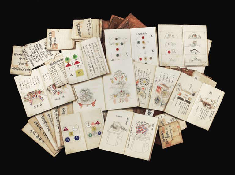 A collection of instructional notebooks containing secrets of gastronomy, etiquette, techniques of preparations for a wide variety of festivities, mostly of the Ogasawara School of gastronomy but also the Shijo School, ca. 1839-ca. 1912. GASTRONOMY.