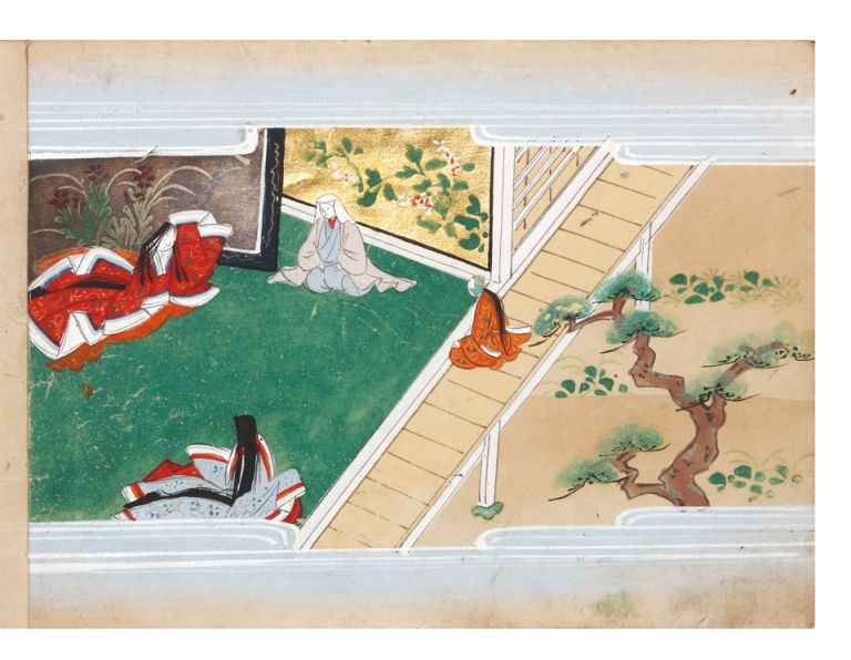"Illustrated manuscript on superior paper, a picture album of ""Ishimochi no soshi"" concerning..."