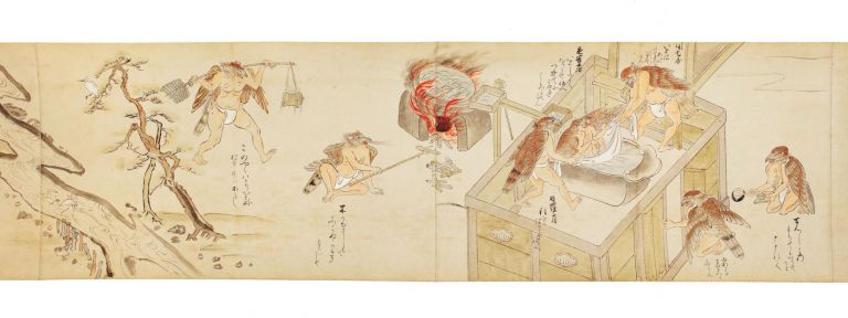 "Scroll on paper of the second part of ""The Tale of Zegaibo,"" with four long, finely colored..."