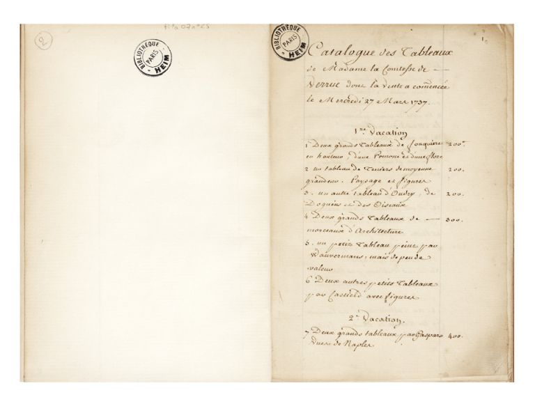 [Manuscript drop-titles]: Catalogue des Tableaux de Madame la Comtesse de Verrue dont la Vente a commencée le Mercredi 27 Mars 1737. [Second drop-title]: Reprise de la Vente des Tableaux de Madame de Verrue le 29 Avril 1737. Jeanne Baptiste d'Albert de Luynes AUCTION CATALOGUE: VERRUE, comtesse de.