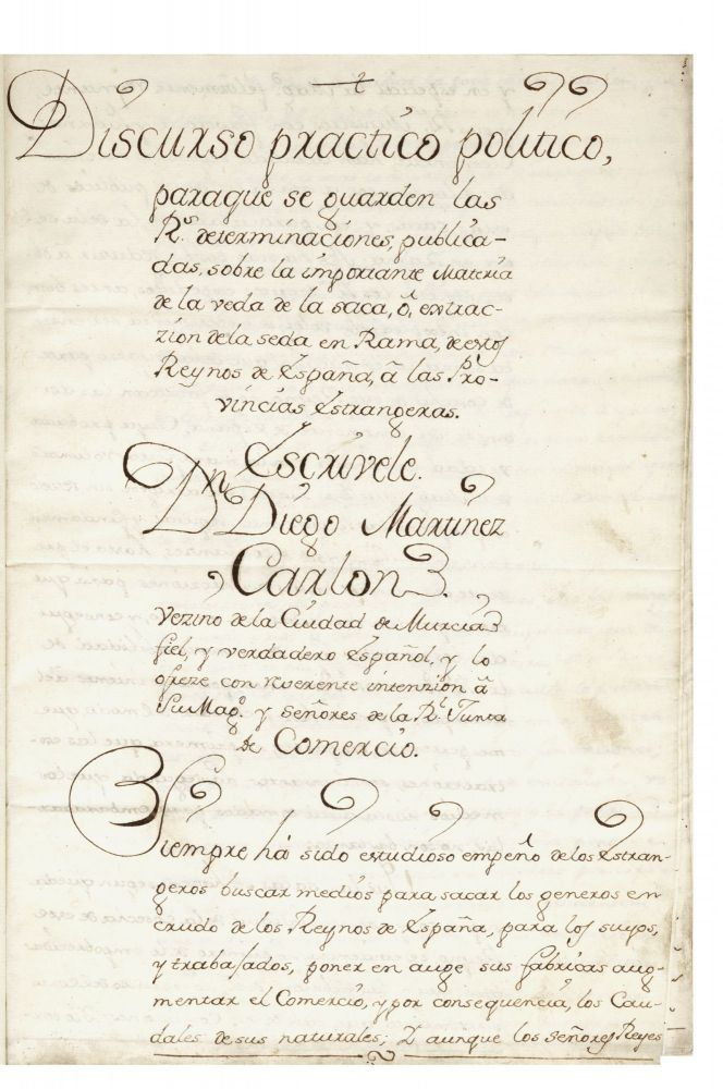 "Manuscript on paper entitled: ""Discurso practico politico, paraque se guarden las Rs...."
