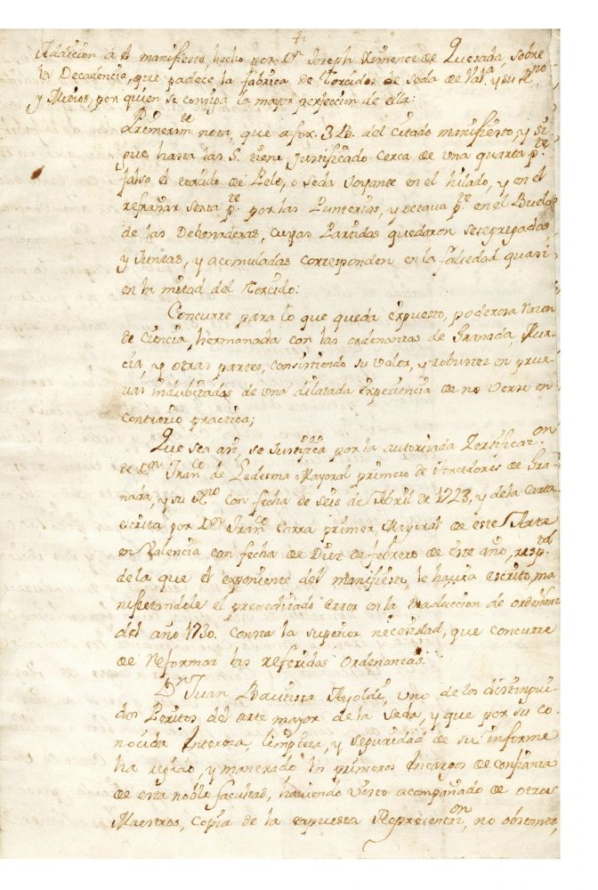 "Manuscript on paper entitled: ""Addición a el manifiesto…sobre la decadencia que padece la..."