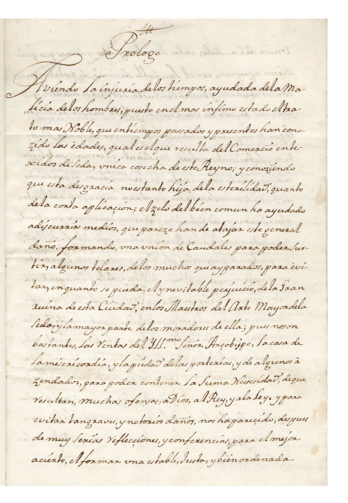 "Mid-18th-century Spanish manuscript regarding the establishment of a ""Union de Caudales,"" to support a local silk factory in Valencia. SILK."