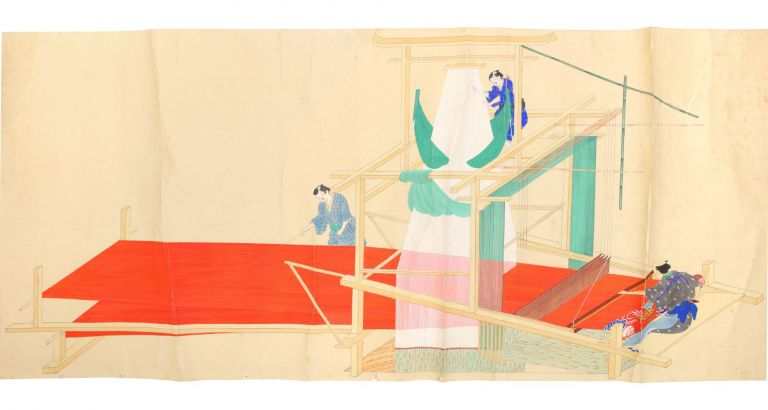 An uncommonly large and fine scroll (1760 x 475 mm.), depicting two Japanese hand looms, with...