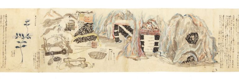 Illustrated manuscript scroll on paper, with a number of paintings in brush & wash of various colors. COAL, GAMPI.