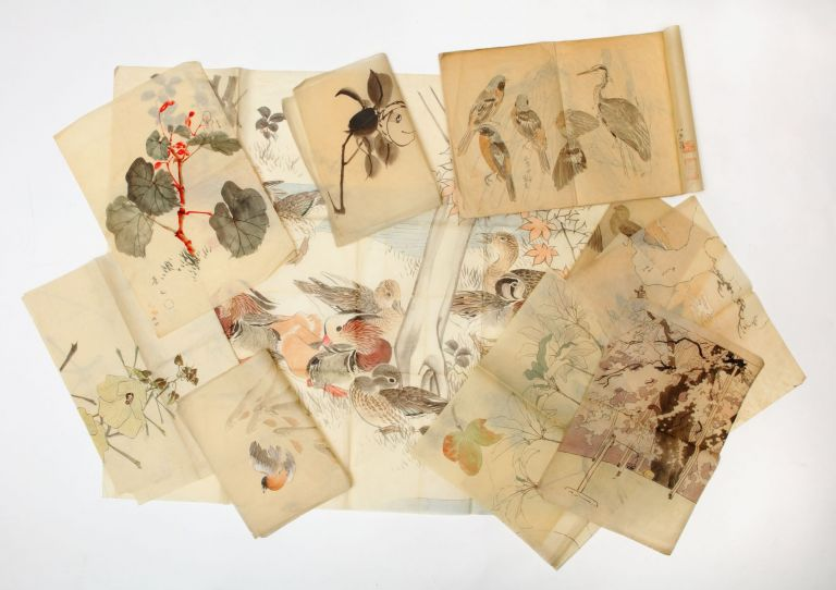 A collection of ca. 60 brush and ink drawings and paintings, many of which are in various colors, from the Yagi family archive, some by Kiho, others by Unkei. Kiho YAGI, artists Unkei, father, son.