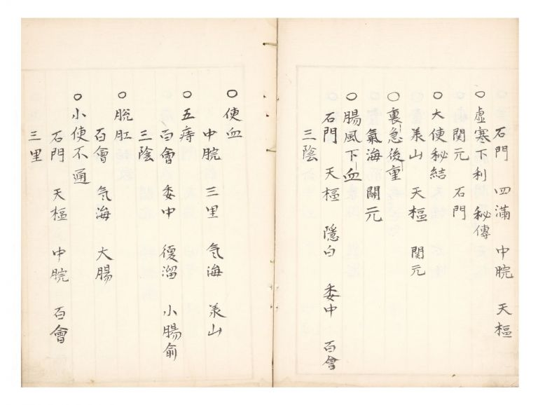 "Manuscript on paper, entitled in manuscript on label on upper covers ""Shinho hiden goun sho"" (""Secret Methods of the Needle, Five Aspects, Secret Information Gathered""). SECRET METHODS OF THE NEEDLE."