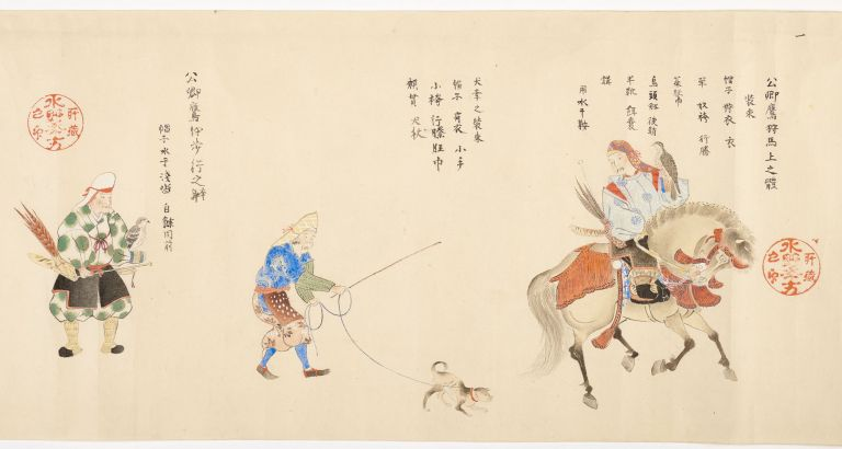 """Scroll of paper entitled from old label on outside & at beginning of scroll: """"Takagari shozoku"""" [""""Ceremonial Costumes for Falconers""""]. FALCONRY COSTUME SCROLL."""