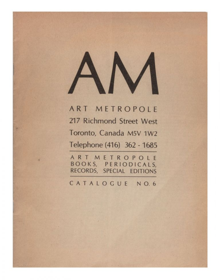 From upper cover]: Catalogue No. 6. bookseller ART METROPOLE