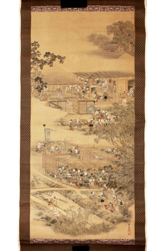 Two hanging scrolls, painted on silk in ink & colors (555 x 1215 mm.), carefully mounted on...