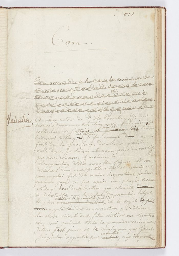 The complete working autograph manuscript of George Sand's Cora, with numerous corrections,...