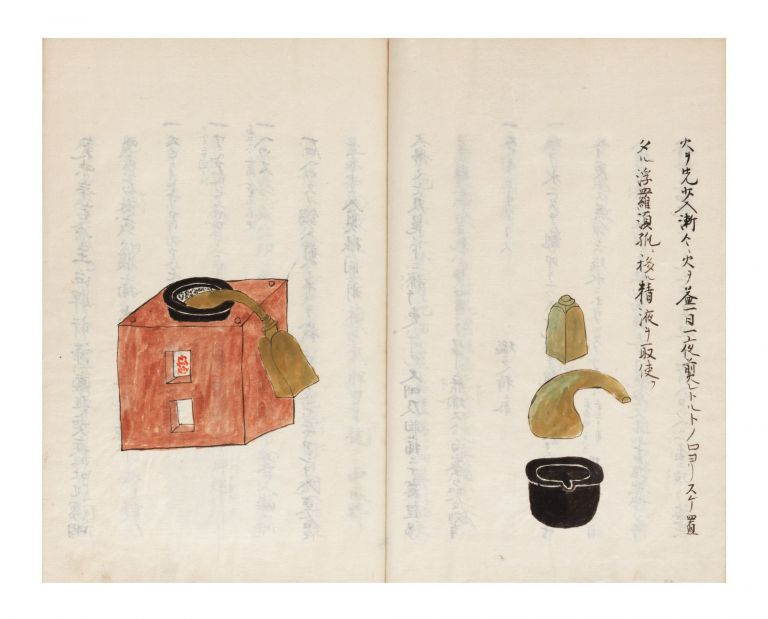 "Illustrated manuscript on paper, entitled on manuscript label on upper cover ""[first two characters cannot be read but probably a reference to Dutch teaching] ryu abura gusuri shuge"" [""[first two characters] School's Collection of Descriptions of Oil Medicines""]; title on first leaf ""Oranda abura gusuri no shuge"" [""Collection of Dutch Oil Medicines Described""]. DUTCH DISTILLATION METHODS."