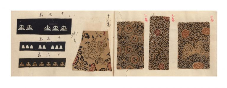 "A manuscript swatch book entitled on upper cover ""Komon Nameshigawa"" [""Traditional Patterns for Tanned Leather""]. NAMESHIGAWA: TANNED DECORATIVE LEATHER."