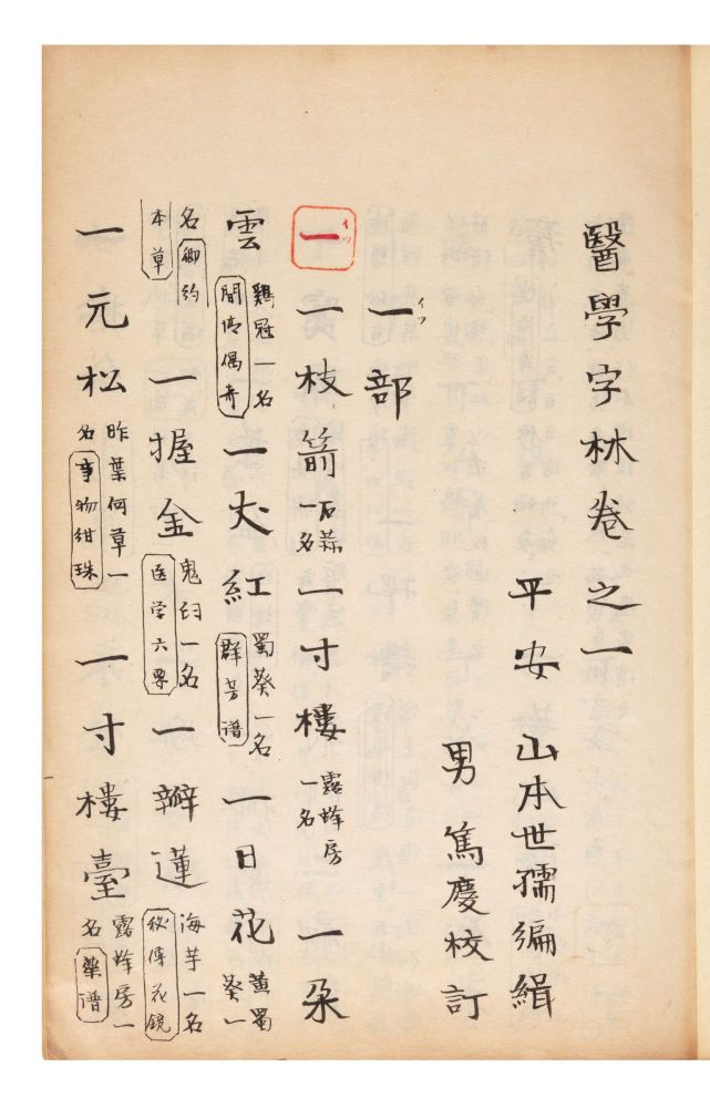 "Manuscript on paper, entitled on labels of upper covers ""Igaku jirin"" [""Dictionary &..."