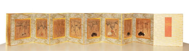Orihon (accordion) album with 36 mounted sheets (each 169 x 155 mm.), all within gold frames, each with calligraphy by Kuzuoka. Nobuyoshi KUZUOKA.
