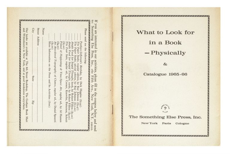 What to Look for in a Book — Physically & Catalogue 1965-66. Inc SOMETHING ELSE PRESS, publisher