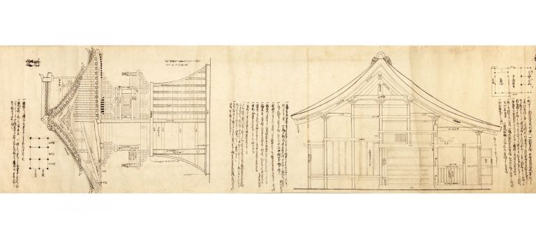 Scroll on paper containing 12 large brush & ink drawings & 15 smaller floor plan diagrams in...