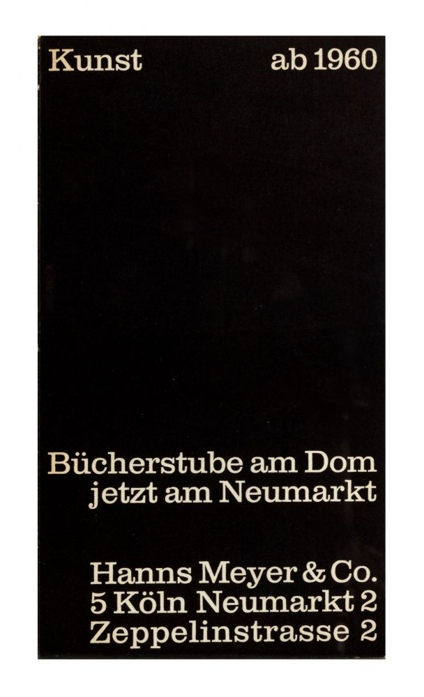 From upper cover]: Kunst ab 1960 [Catalogue no. 37]. bookseller BÜCHERSTUBE AM DOM