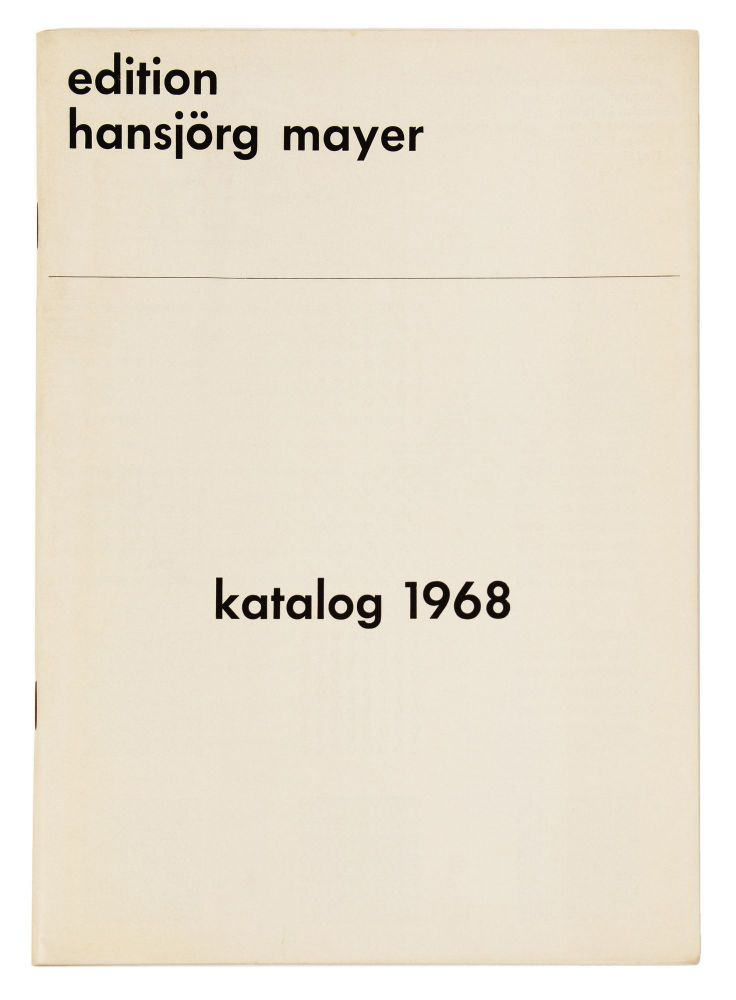 From upper wrapper]: katalog 1968. publisher EDITION HANSJÖRG MAYER