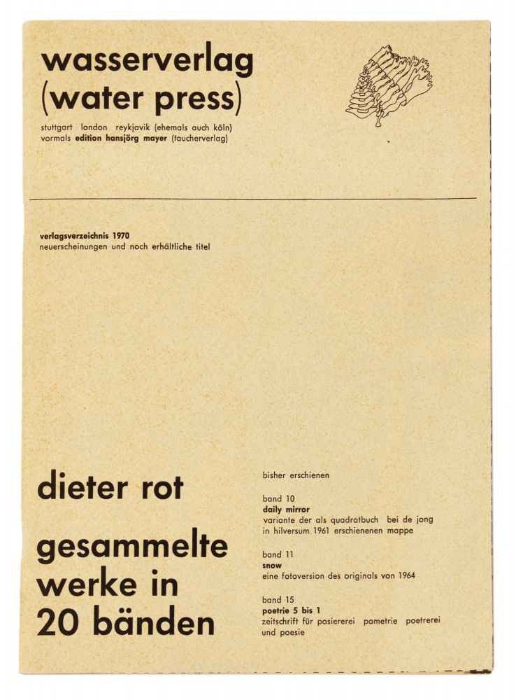 From upper cover]: wasserverlag (water press)…verlagsverzeichnis 1970. publisher EDITION...