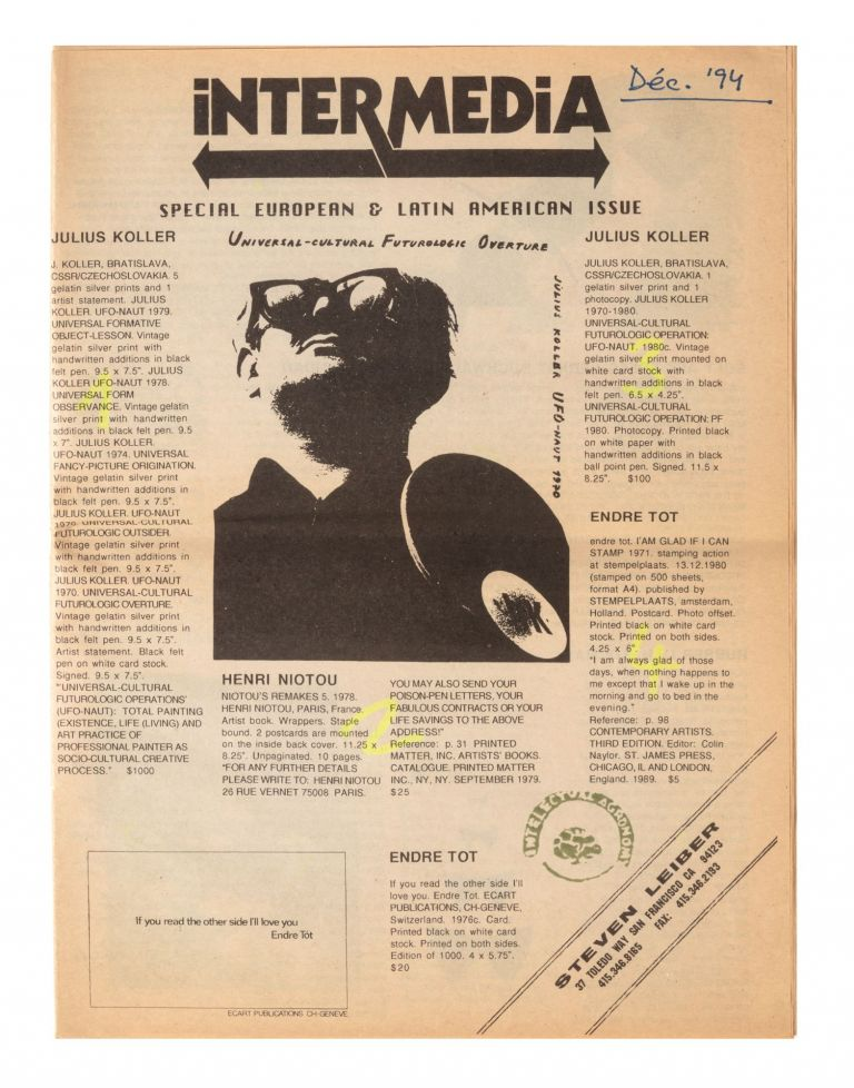 [From head of first page]: Intermedia: Special European & Latin American Issue. Steven LEIBER, bookseller.