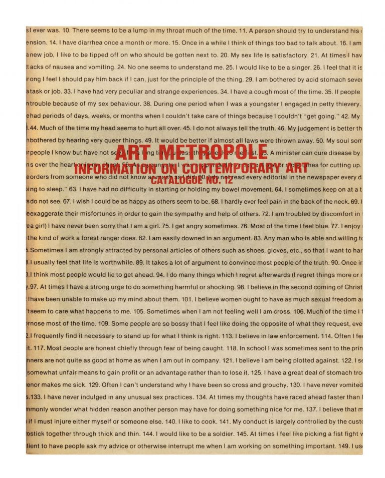 Information on Contemporary Art, Catalogue no. 12. bookseller ART METROPOLE