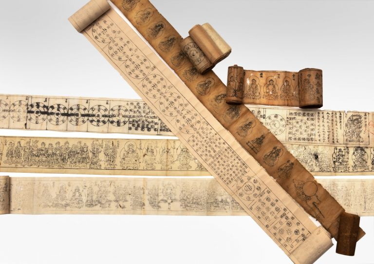 A collection of ten talisman (or amulet) Buddhist woodblock-printed scrolls on paper, of various...