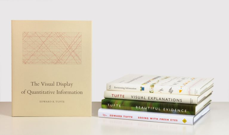A complete set of the first editions of the five books of Edward Tufte, including The Visual Display of Quantitative Information (1983); Envisioning Information (1990); Visual Explanations: Images and Quantities, Evidence and Narrative (1997); Beautiful Evidence (2006); and Seeing with Fresh Eyes. Meaning, Space, Data, Truth (2020). Edward TUFTE.